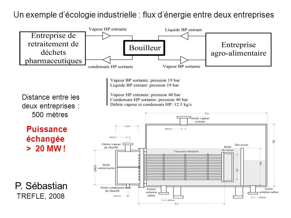 Un exemple décologie industrielle : flux dénergie entre deux entreprises P. Sébastian TREFLE, 2008 Puissance échangée > 20 MW ! Distance entre les deu