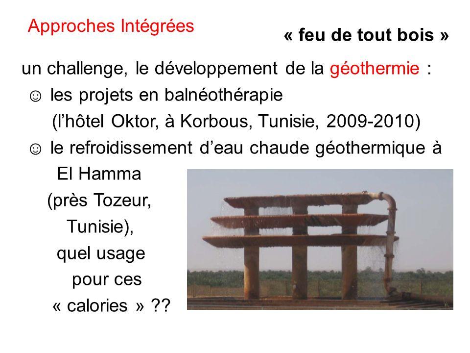 un challenge, le développement de la géothermie : les projets en balnéothérapie (lhôtel Oktor, à Korbous, Tunisie, 2009-2010) le refroidissement deau