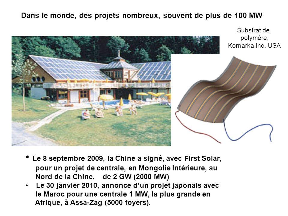 Dans le monde, des projets nombreux, souvent de plus de 100 MW Substrat de polymère, Kornarka Inc. USA Le 8 septembre 2009, la Chine a signé, avec Fir