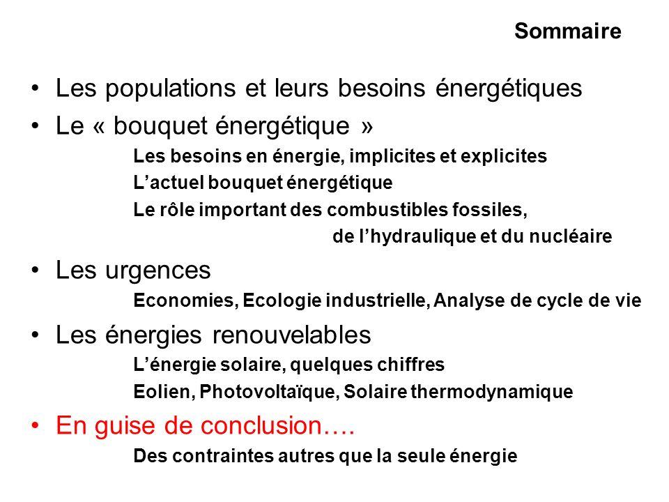 Sommaire Les populations et leurs besoins énergétiques Le « bouquet énergétique » Les besoins en énergie, implicites et explicites Lactuel bouquet éne
