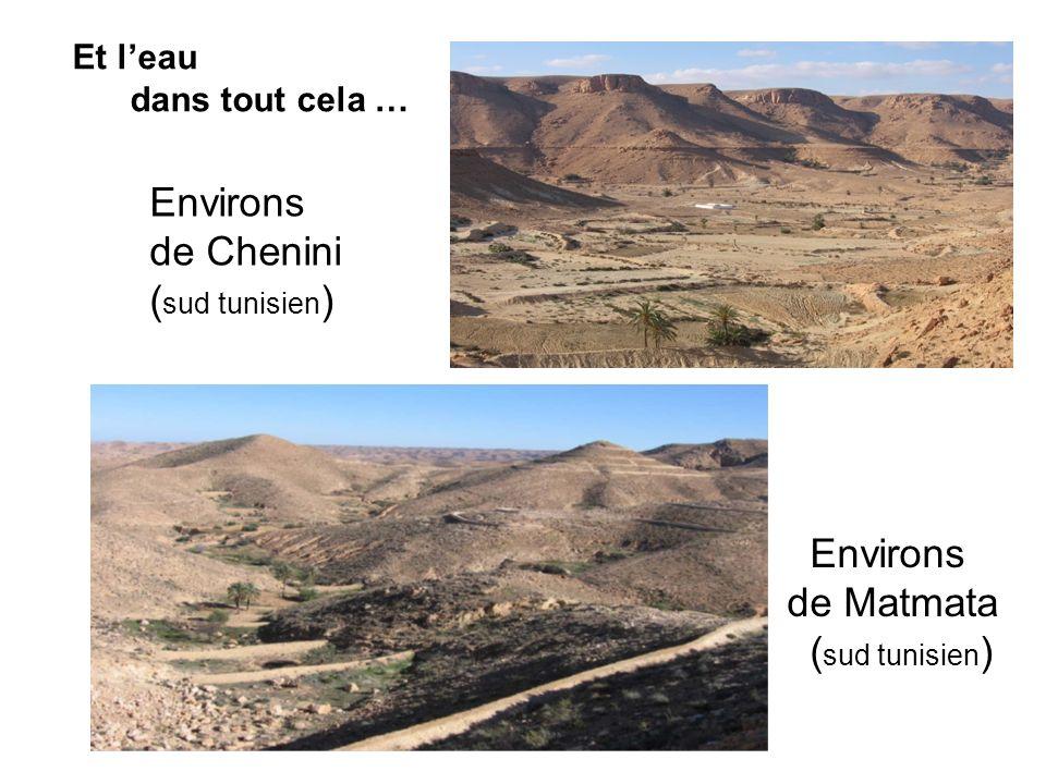 Et leau dans tout cela … Environs de Chenini ( sud tunisien ) Environs de Matmata ( sud tunisien )