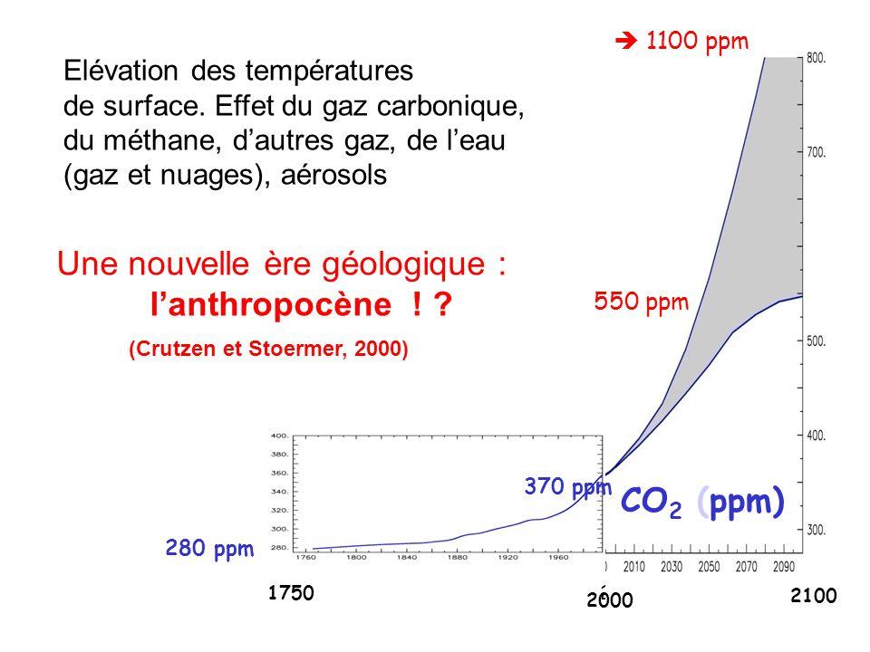 2100 17502000 280 ppm 1100 ppm 370 ppm 2000 2100 550 ppm CO 2 (ppm) Elévation des températures de surface. Effet du gaz carbonique, du méthane, dautre