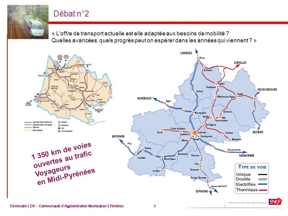 3 Séminaire LGV – Communauté dAgglomération Montauban 3 Rivières 3 Débat n°2 1 350 km de voies ouvertes au trafic Voyageurs en Midi-Pyrénées « Loffre