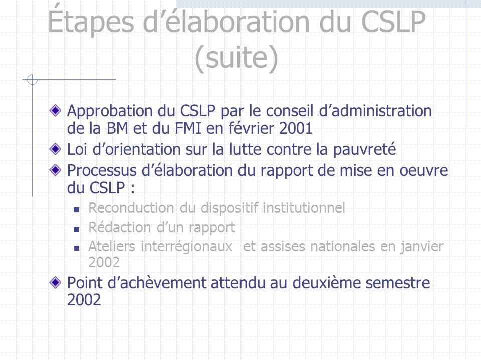 Étapes délaboration du CSLP Stratégie nationale de lutte contre la pauvreté en 1994 et PNLCP en 1998 Actualisation de la Stratégie nationale de lutte contre la pauvreté en 1999 Adoption du CSLP en janvier 2001 (Assises nationales)