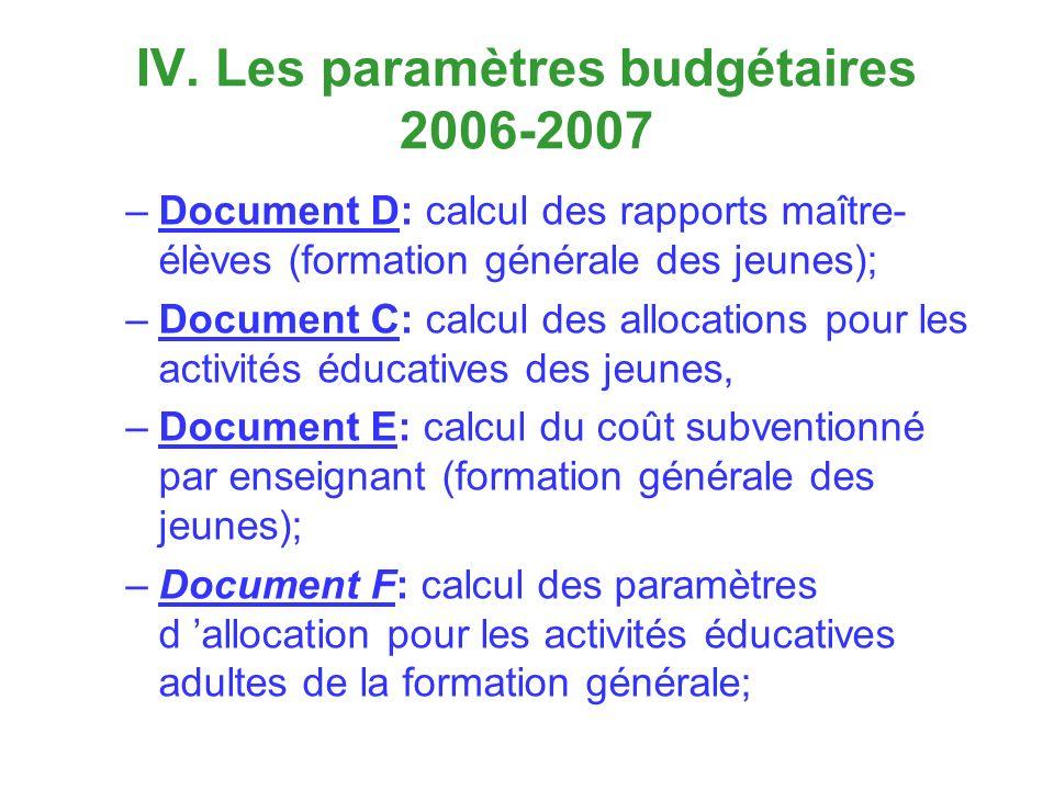 IV. Les paramètres budgétaires 2006-2007 –Document D: calcul des rapports maître- élèves (formation générale des jeunes); –Document C: calcul des allo