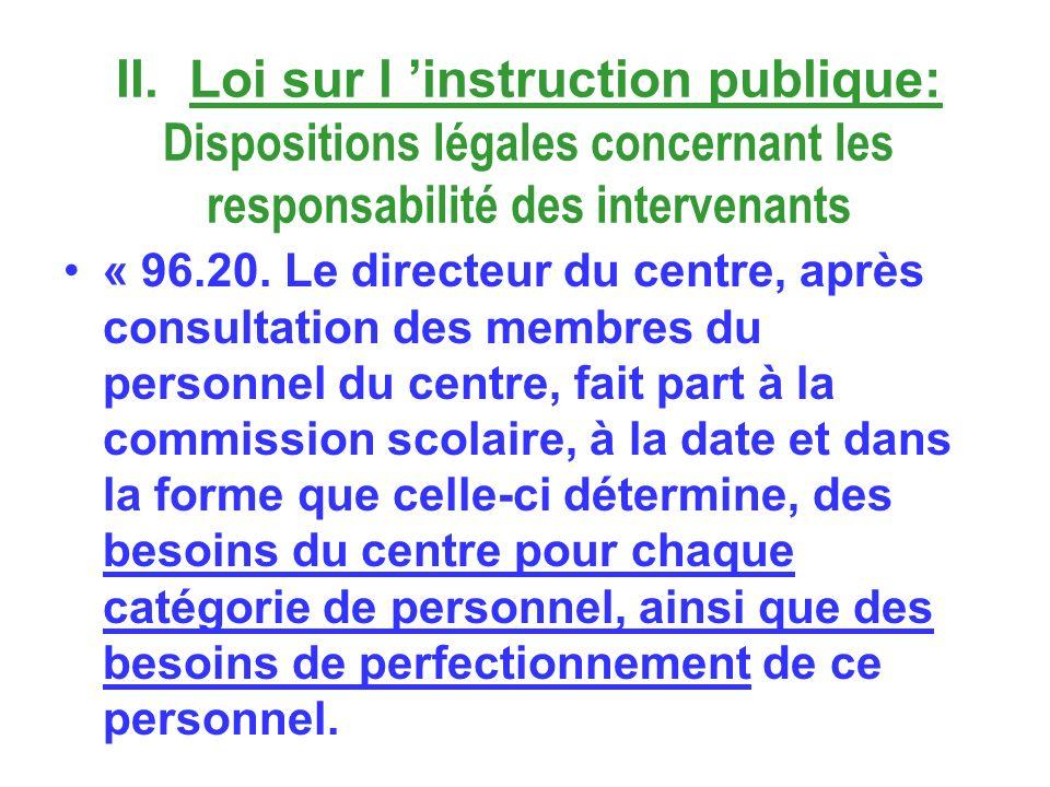 II. Loi sur l instruction publique: Dispositions légales concernant les responsabilité des intervenants « 96.20. Le directeur du centre, après consult