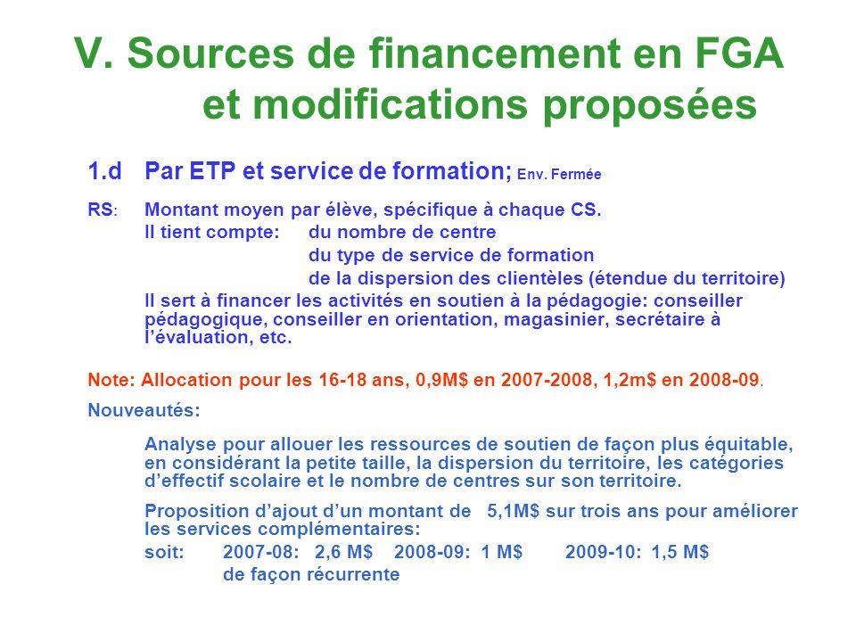 V. Sources de financement en FGA et modifications proposées 1.dPar ETP et service de formation; Env. Fermée RS : Montant moyen par élève, spécifique à