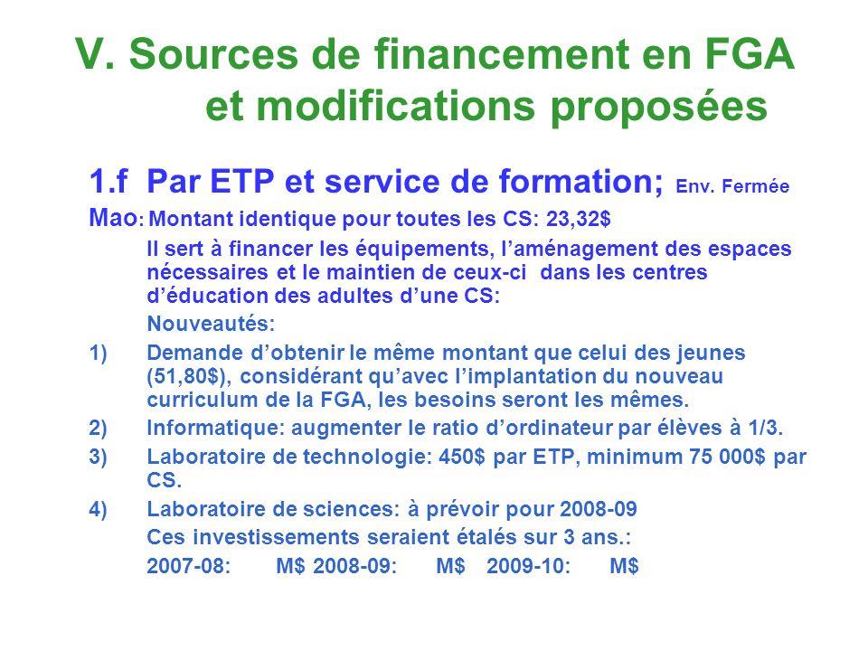 V. Sources de financement en FGA et modifications proposées 1.fPar ETP et service de formation; Env. Fermée Mao : Montant identique pour toutes les CS