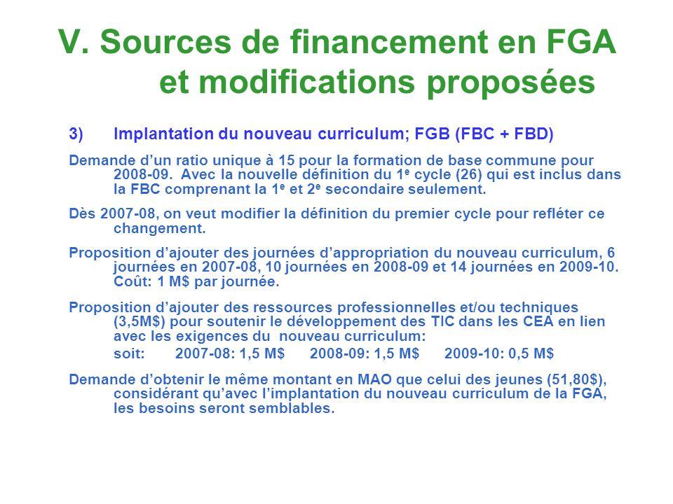 V. Sources de financement en FGA et modifications proposées 3)Implantation du nouveau curriculum; FGB (FBC + FBD) Demande dun ratio unique à 15 pour l