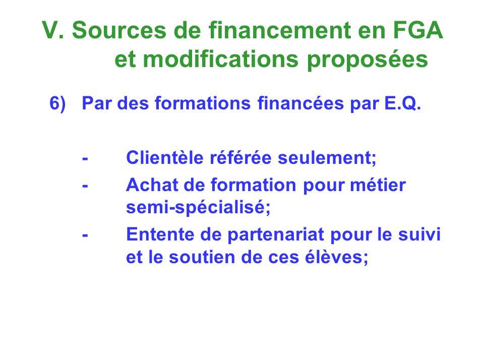 V. Sources de financement en FGA et modifications proposées 6)Par des formations financées par E.Q.