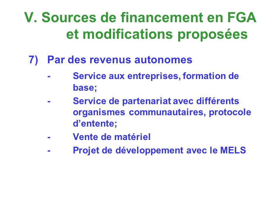 V. Sources de financement en FGA et modifications proposées 7)Par des revenus autonomes - Service aux entreprises, formation de base; -Service de part