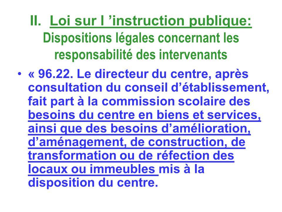 II. Loi sur l instruction publique: Dispositions légales concernant les responsabilité des intervenants « 96.22. Le directeur du centre, après consult
