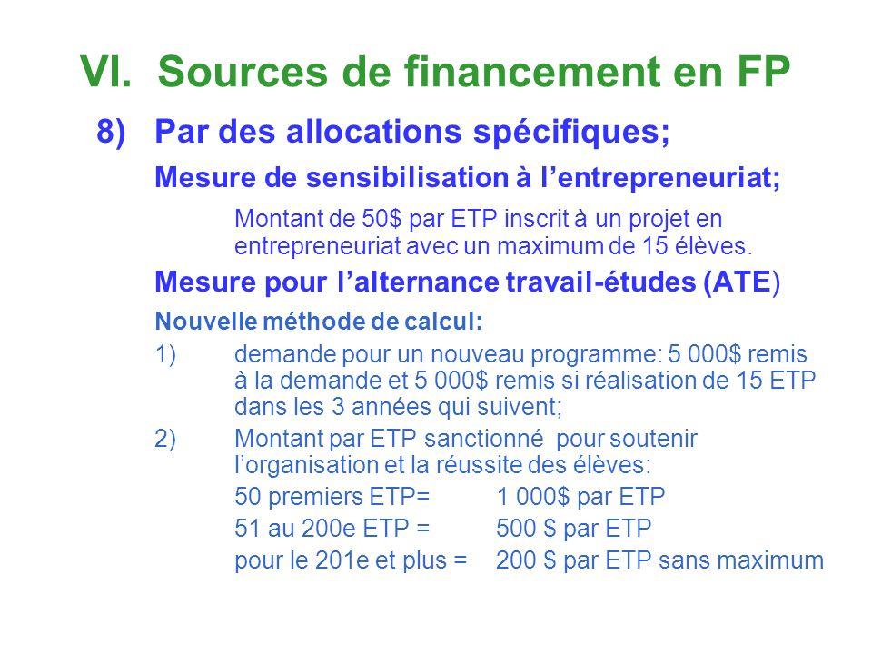 VI. Sources de financement en FP 8)Par des allocations spécifiques; Mesure de sensibilisation à lentrepreneuriat; Montant de 50$ par ETP inscrit à un