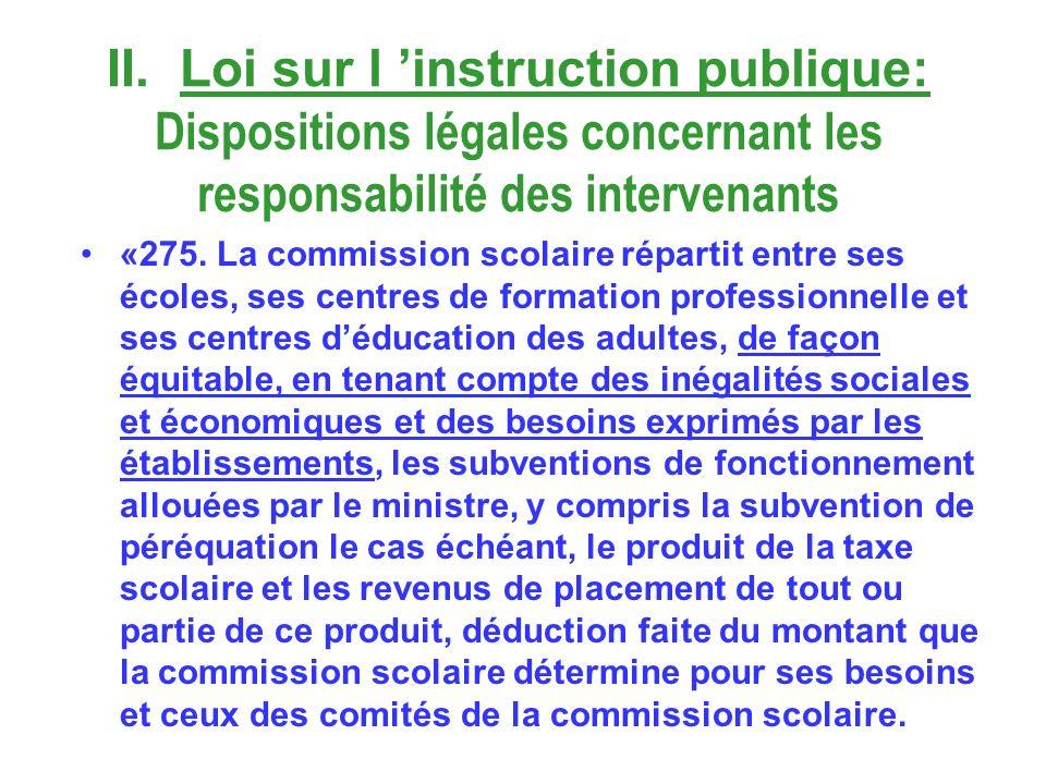II. Loi sur l instruction publique: Dispositions légales concernant les responsabilité des intervenants «275. La commission scolaire répartit entre se
