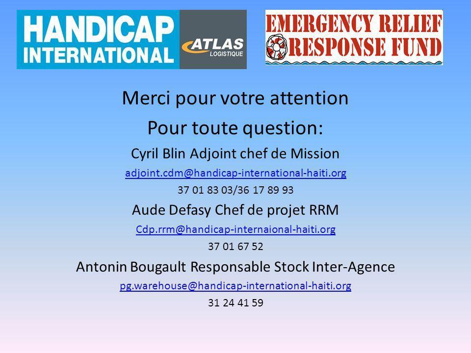 Merci pour votre attention Pour toute question: Cyril Blin Adjoint chef de Mission adjoint.cdm@handicap-international-haiti.org 37 01 83 03/36 17 89 9