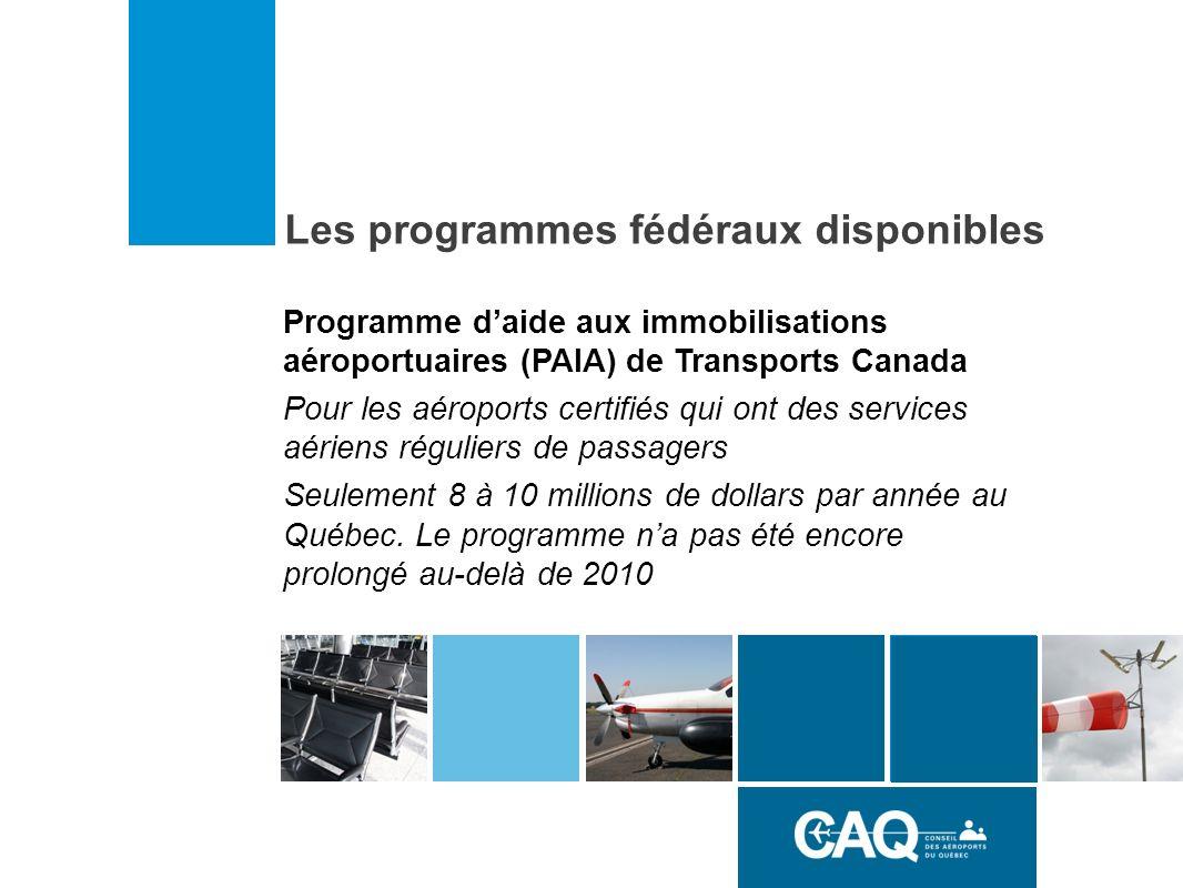 Les programmes fédéraux disponibles Programme daide aux immobilisations aéroportuaires (PAIA) de Transports Canada Pour les aéroports certifiés qui ont des services aériens réguliers de passagers Seulement 8 à 10 millions de dollars par année au Québec.