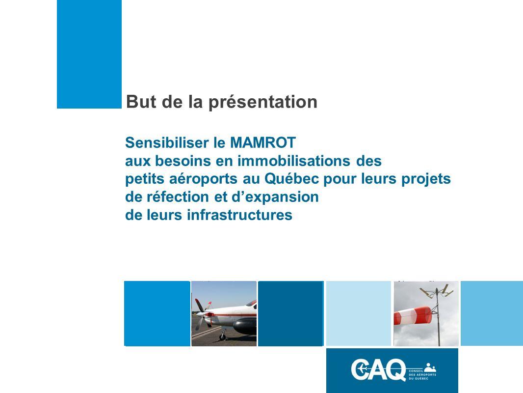 But de la présentation Sensibiliser le MAMROT aux besoins en immobilisations des petits aéroports au Québec pour leurs projets de réfection et dexpansion de leurs infrastructures