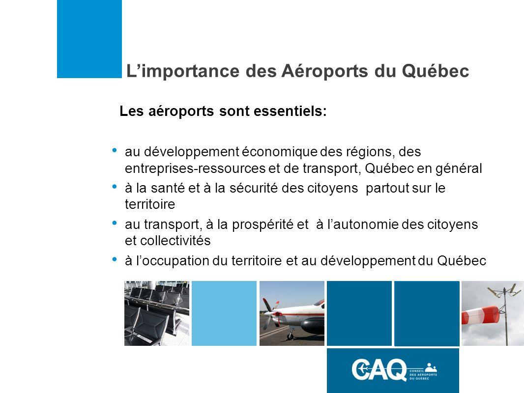 Limportance des Aéroports du Québec Les aéroports sont essentiels: au développement économique des régions, des entreprises-ressources et de transport, Québec en général à la santé et à la sécurité des citoyens partout sur le territoire au transport, à la prospérité et à lautonomie des citoyens et collectivités à loccupation du territoire et au développement du Québec