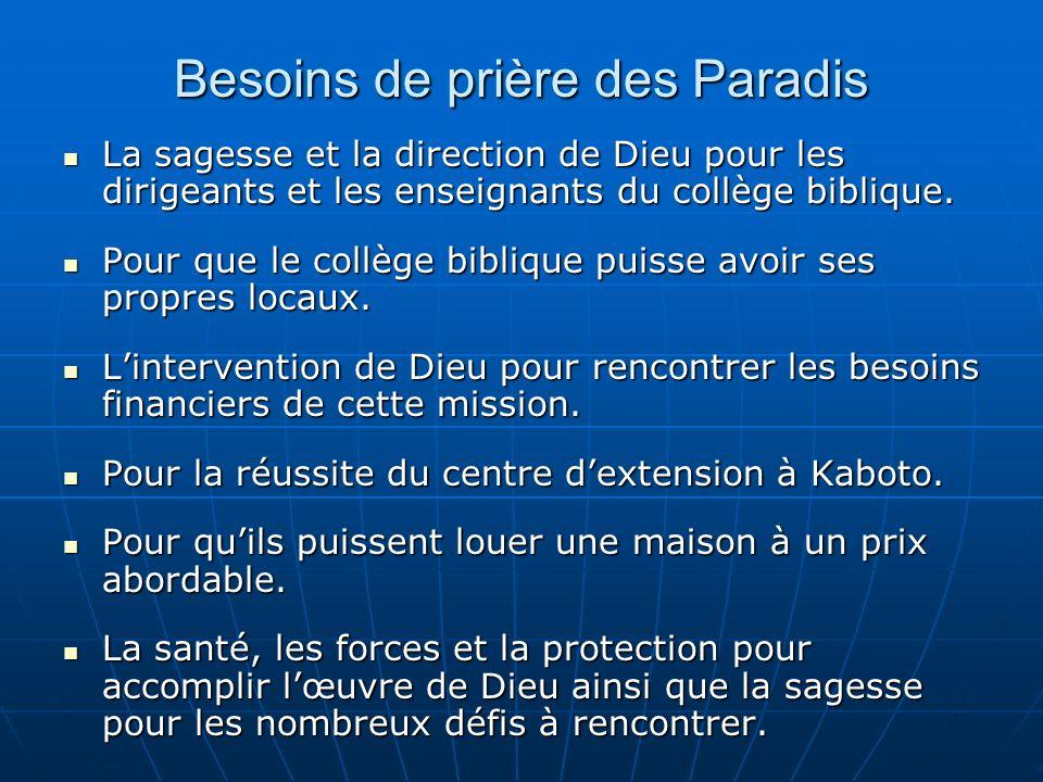 Besoins de prière des Paradis La sagesse et la direction de Dieu pour les dirigeants et les enseignants du collège biblique.