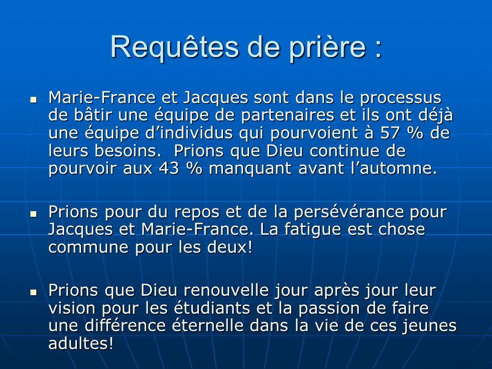 Requêtes de prière : Marie-France et Jacques sont dans le processus de bâtir une équipe de partenaires et ils ont déjà une équipe dindividus qui pourvoient à 57 % de leurs besoins.