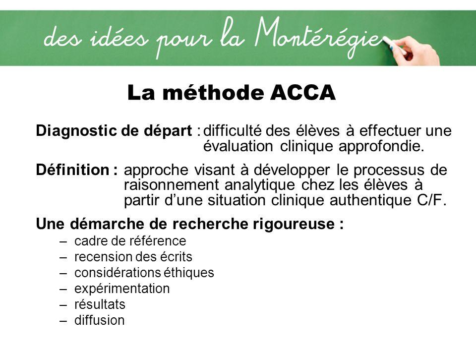 La méthode ACCA Diagnostic de départ :difficulté des élèves à effectuer une évaluation clinique approfondie. Définition : approche visant à développer