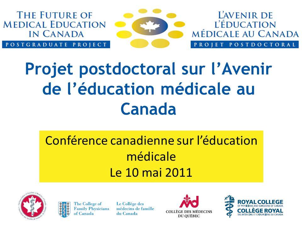 Projet postdoctoral sur lAvenir de léducation médicale au Canada Conférence canadienne sur léducation médicale Le 10 mai 2011