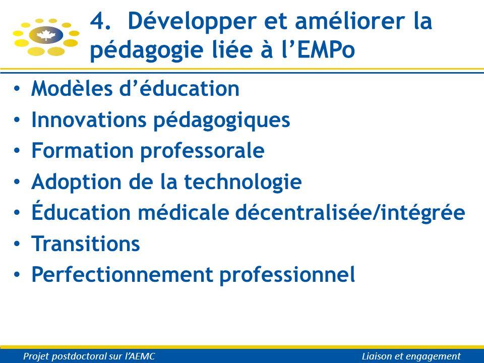 4. Développer et améliorer la pédagogie liée à lEMPo Modèles déducation Innovations pédagogiques Formation professorale Adoption de la technologie Édu