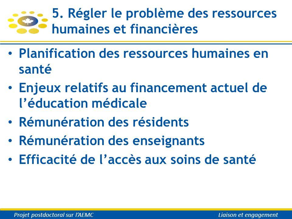 5. Régler le problème des ressources humaines et financières Planification des ressources humaines en santé Enjeux relatifs au financement actuel de l