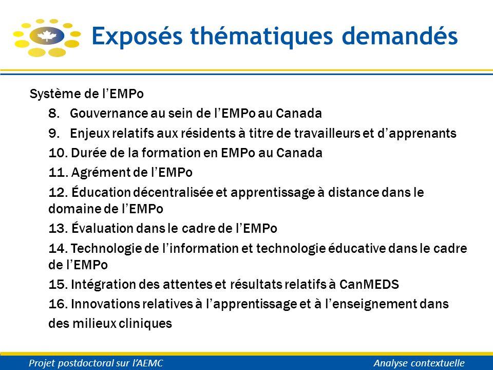 Exposés thématiques demandés Système de lEMPo 8. Gouvernance au sein de lEMPo au Canada 9. Enjeux relatifs aux résidents à titre de travailleurs et da