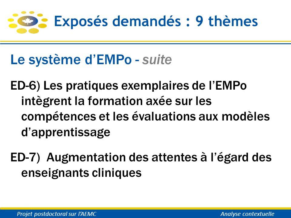 Exposés demandés : 9 thèmes Le système dEMPo - suite ED-6) Les pratiques exemplaires de lEMPo intègrent la formation axée sur les compétences et les é