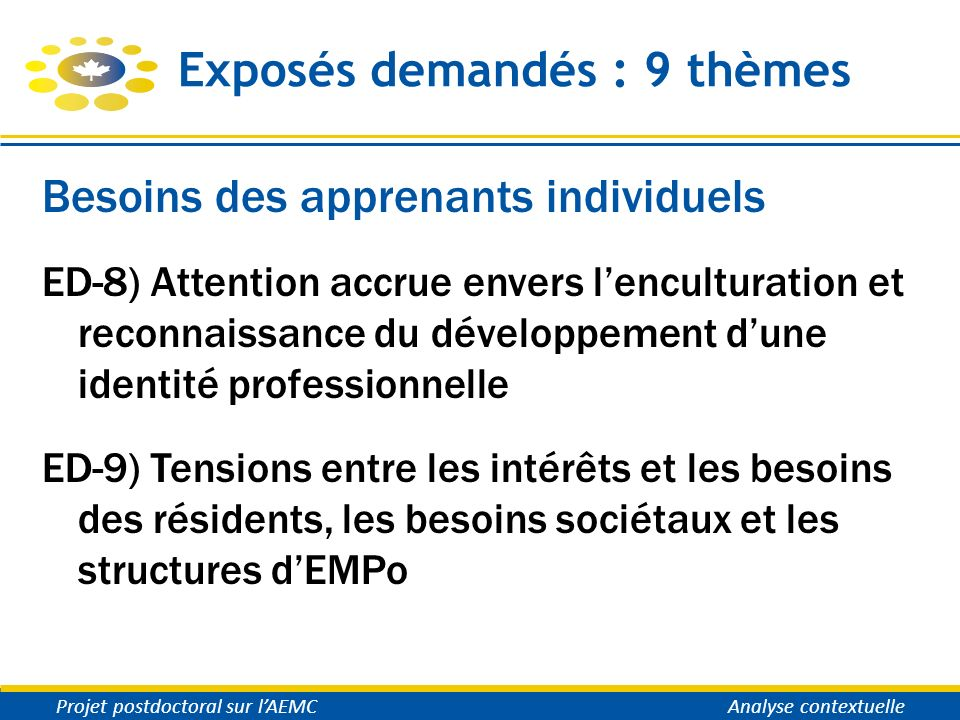 Exposés demandés : 9 thèmes Besoins des apprenants individuels ED-8) Attention accrue envers lenculturation et reconnaissance du développement dune id