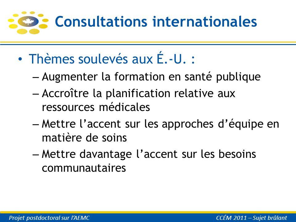 Consultations internationales Thèmes soulevés aux É.-U. : – Augmenter la formation en santé publique – Accroître la planification relative aux ressour