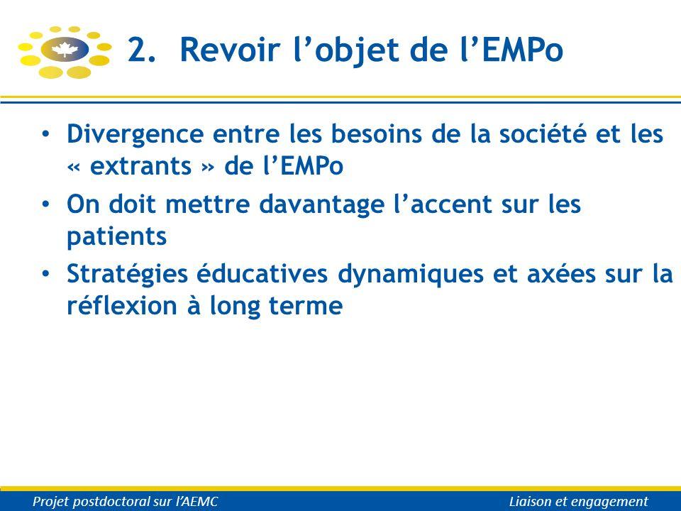 2. Revoir lobjet de lEMPo Divergence entre les besoins de la société et les « extrants » de lEMPo On doit mettre davantage laccent sur les patients St