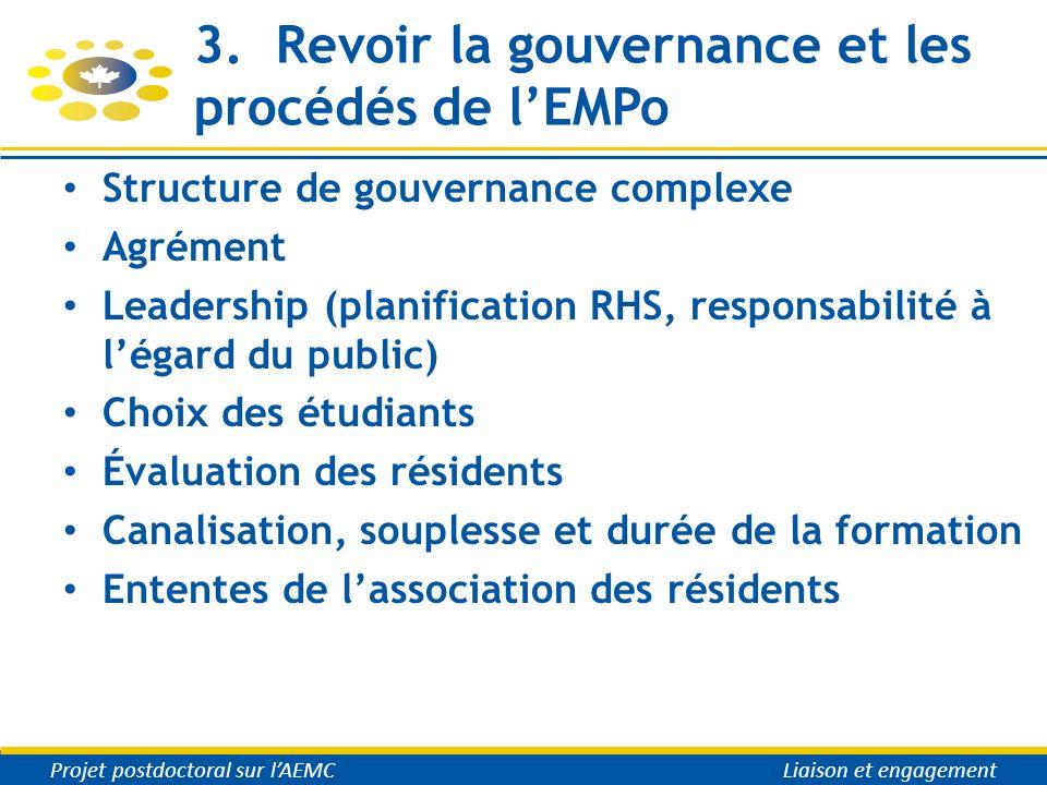 3. Revoir la gouvernance et les procédés de lEMPo Structure de gouvernance complexe Agrément Leadership (planification RHS, responsabilité à légard du