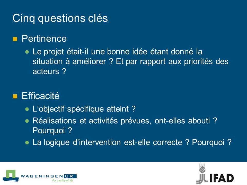 Cinq questions clés Pertinence Le projet était-il une bonne idée étant donné la situation à améliorer ? Et par rapport aux priorités des acteurs ? Eff