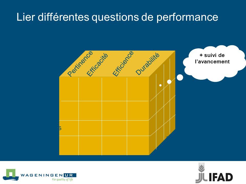 Lier différentes questions de performance Quoi ? Pourquoi ? Conséquences Actions Activités Réalisations Effets Impact Pertinence Efficacité Efficience