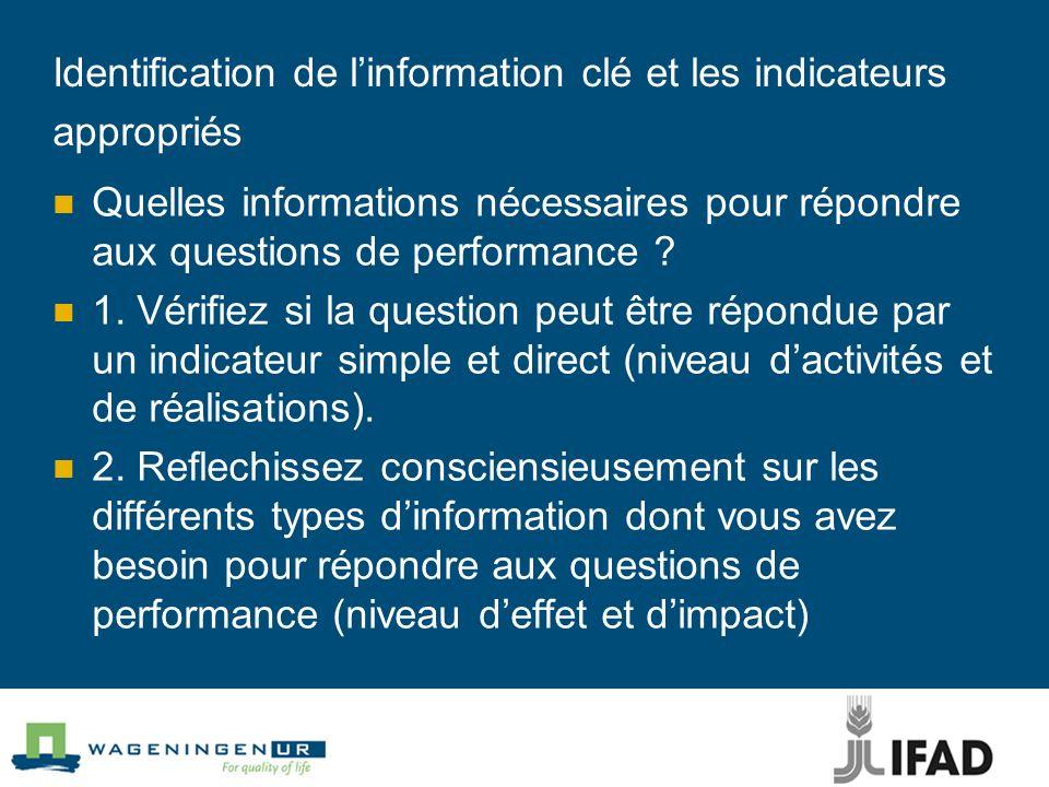 Identification de linformation clé et les indicateurs appropriés Quelles informations nécessaires pour répondre aux questions de performance ? 1. Véri