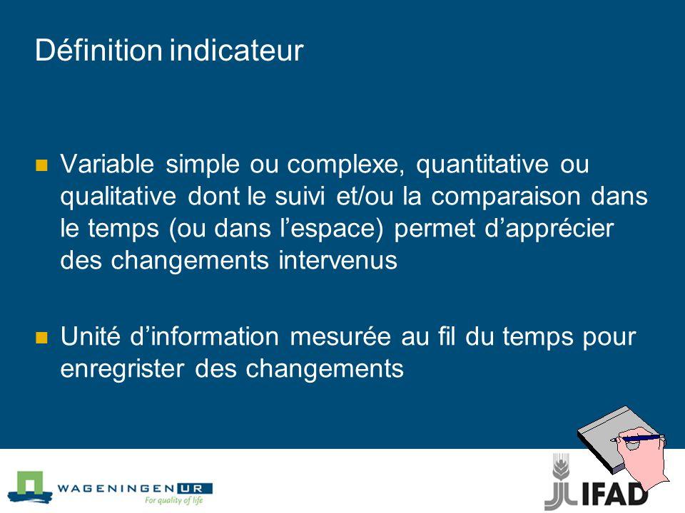 Définition indicateur Variable simple ou complexe, quantitative ou qualitative dont le suivi et/ou la comparaison dans le temps (ou dans lespace) perm