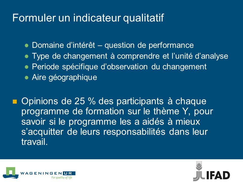 Formuler un indicateur qualitatif Domaine dintérêt – question de performance Type de changement à comprendre et lunité danalyse Periode spécifique dob