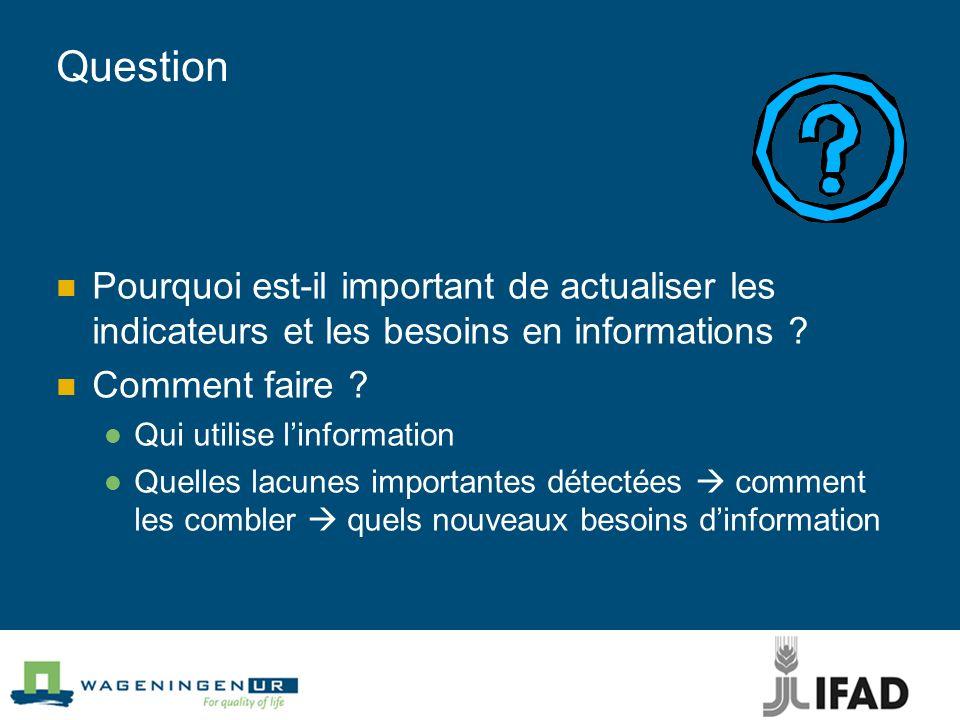 Question Pourquoi est-il important de actualiser les indicateurs et les besoins en informations ? Comment faire ? Qui utilise linformation Quelles lac