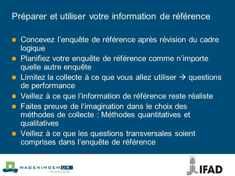 Préparer et utiliser votre information de référence Concevez lenquête de référence après révision du cadre logique Planifiez votre enquête de référenc