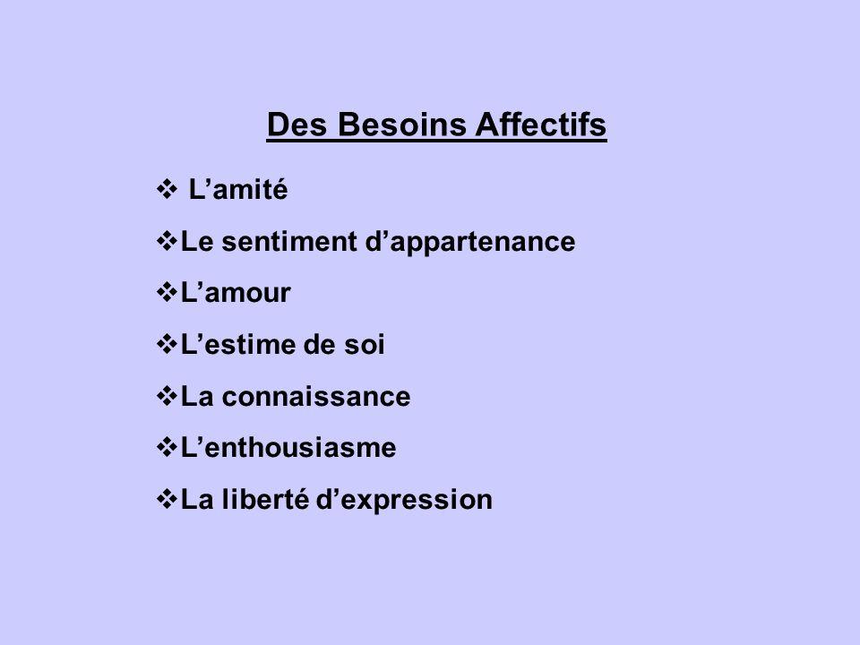 Des Besoins Affectifs Lamité Le sentiment dappartenance Lamour Lestime de soi La connaissance Lenthousiasme La liberté dexpression