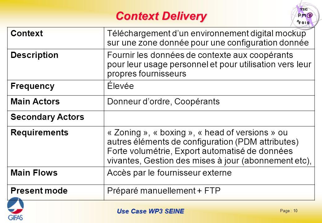 Page : 10 Use Case WP3 SEINE Context Delivery ContextTéléchargement dun environnement digital mockup sur une zone donnée pour une configuration donnée DescriptionFournir les données de contexte aux coopérants pour leur usage personnel et pour utilisation vers leur propres fournisseurs FrequencyÉlevée Main ActorsDonneur dordre, Coopérants Secondary Actors Requirements« Zoning », « boxing », « head of versions » ou autres éléments de configuration (PDM attributes) Forte volumétrie, Export automatisé de données vivantes, Gestion des mises à jour (abonnement etc), Main FlowsAccès par le fournisseur externe Present modePréparé manuellement + FTP