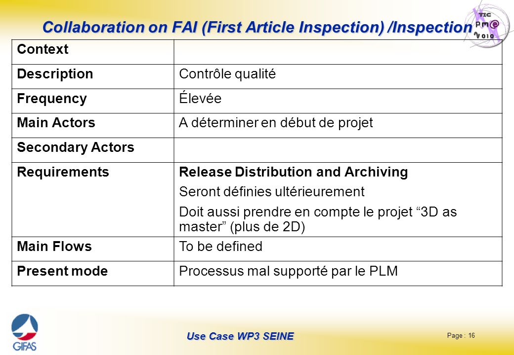 Page : 16 Use Case WP3 SEINE Collaboration on FAI (First Article Inspection) /Inspection Context DescriptionContrôle qualité FrequencyÉlevée Main Acto