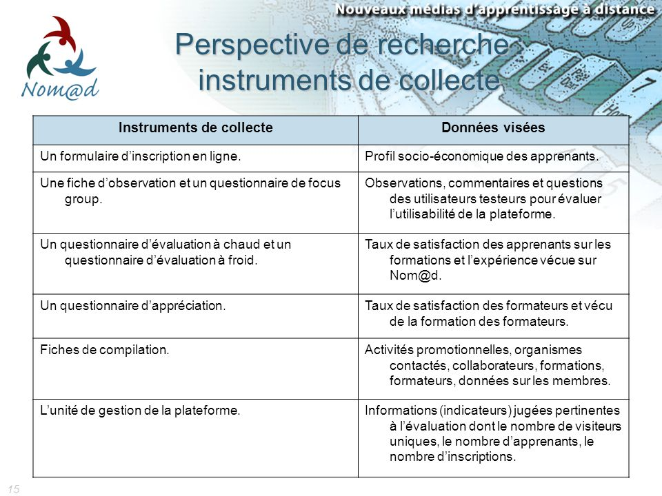 15 Perspective de recherche : instruments de collecte Instruments de collecteDonnées visées Un formulaire dinscription en ligne.Profil socio-économique des apprenants.