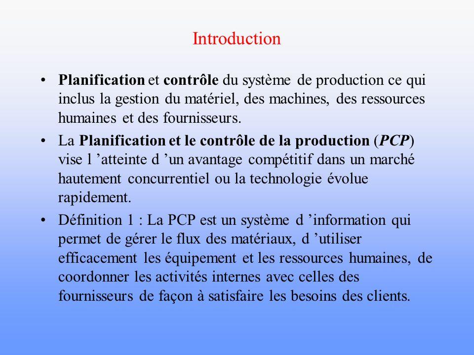 La planification et le contrôle de la production Définition 1 : La PCP est un système qui permet de gérer le flux des matériaux, d utiliser efficacement les équipement et les ressources humaines, de coordonner les activités internes avec celles des fournisseurs de façon à satisfaire les besoins des clients.