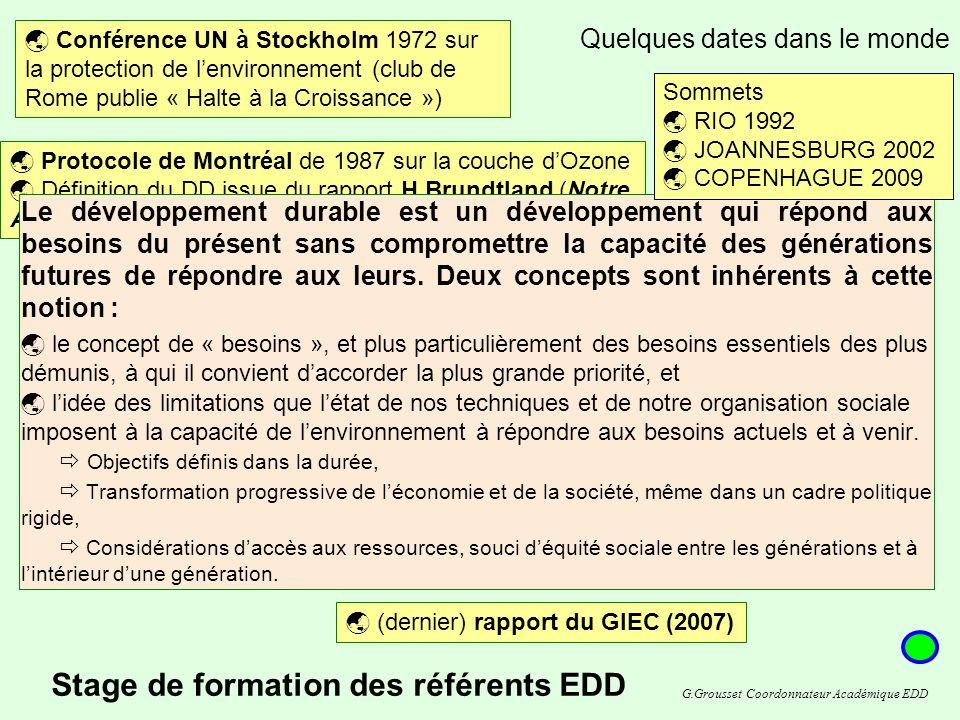 Sommet de Johannesburg (2002) -> axé sur le Développement Durable Quelques dates dans le monde Conférence UN à Stockholm 1972 sur la protection de lenvironnement (club de Rome publie « Halte à la Croissance ») Protocole de Montréal de 1987 sur la couche dOzone Définition du DD issue du rapport H.Brundtland (Notre Avenir à Tous) en 1987 Création du GIEC (1988) Groupe d experts intergouvernemental sur l évolution du climat Déclaration de Rio sur lenvironnement et le développement 1992.