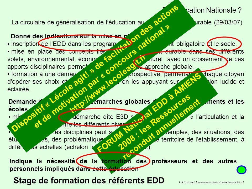 Stage de formation des référents EDD Et léducation Nationale .