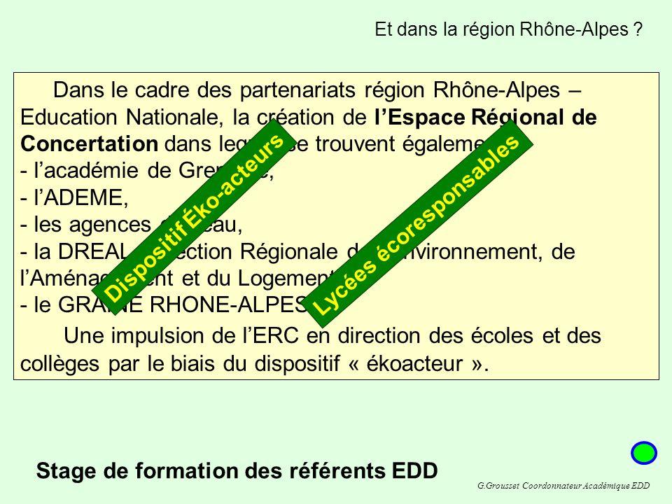 Dans le cadre des partenariats région Rhône-Alpes – Education Nationale, la création de lEspace Régional de Concertation dans lequel se trouvent également: - lacadémie de Grenoble, - lADEME, - les agences de leau, - la DREAL (Direction Régionale de lEnvironnement, de lAménagement et du Logement), - le GRAINE RHONE-ALPES.
