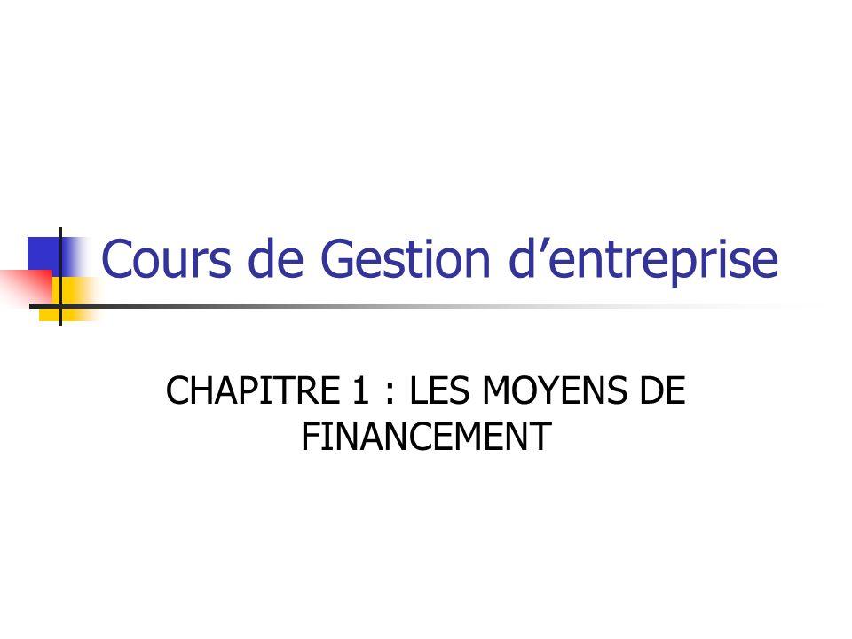 Cours de Gestion dentreprise CHAPITRE 1 : LES MOYENS DE FINANCEMENT